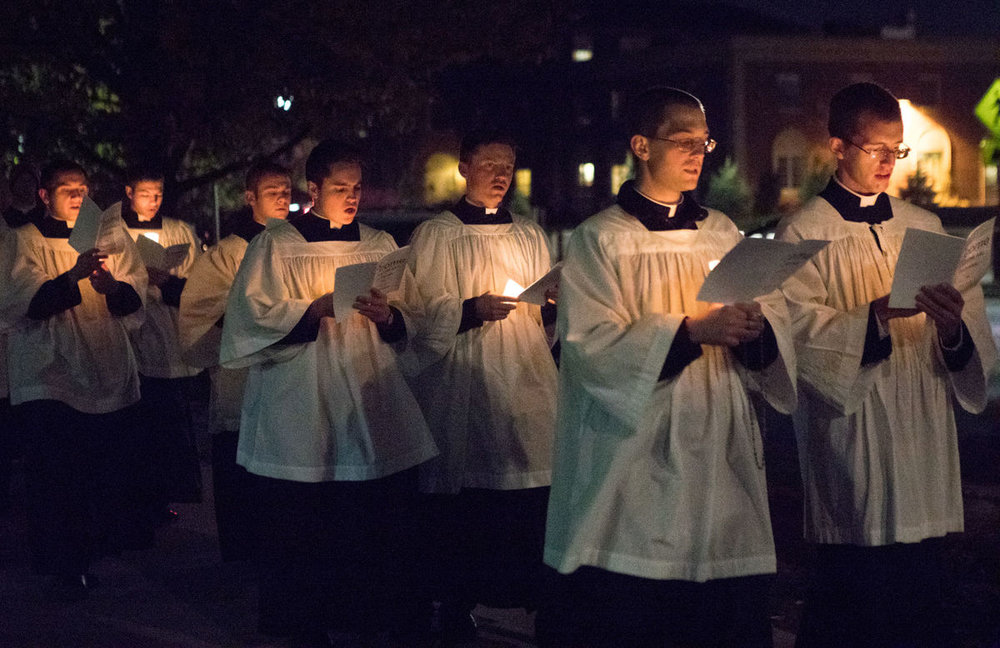 The Newman Center held its 11th annual Eucharistic Processional on Thursday, Nov. 2, 2017. Their aim was to spread the spirit of Jesus Christ around the University of Nebraska-Lincoln campus.  Photo by: Jessica Moore of the Daily Nebraskan