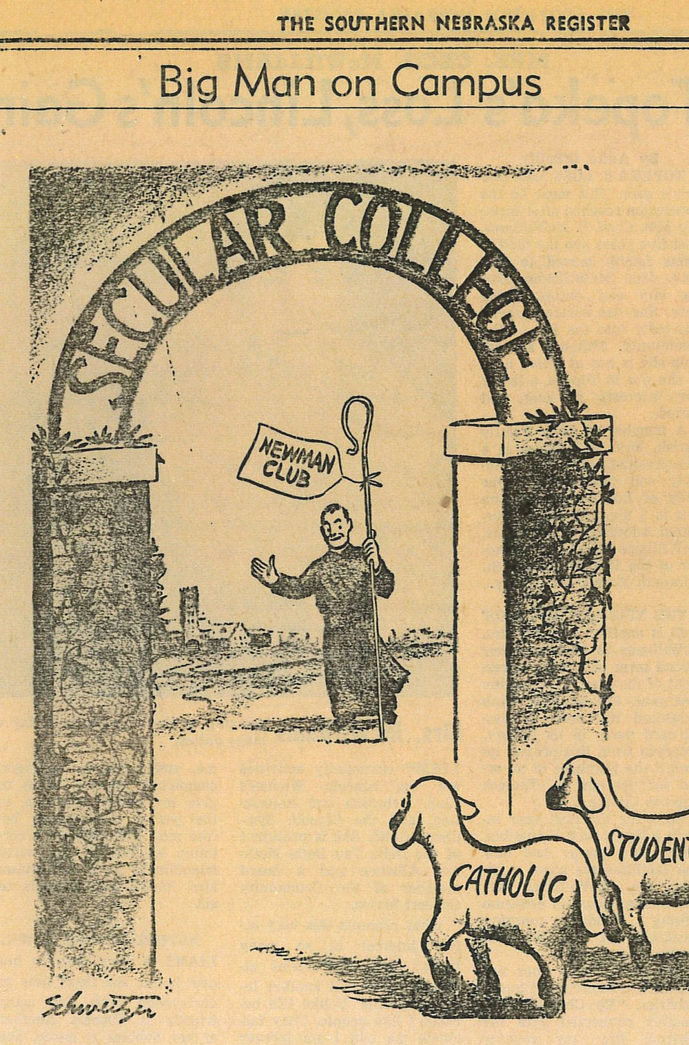 Newspaper illustration from 1960, when the previous St. Thomas Aquinas Church was built.