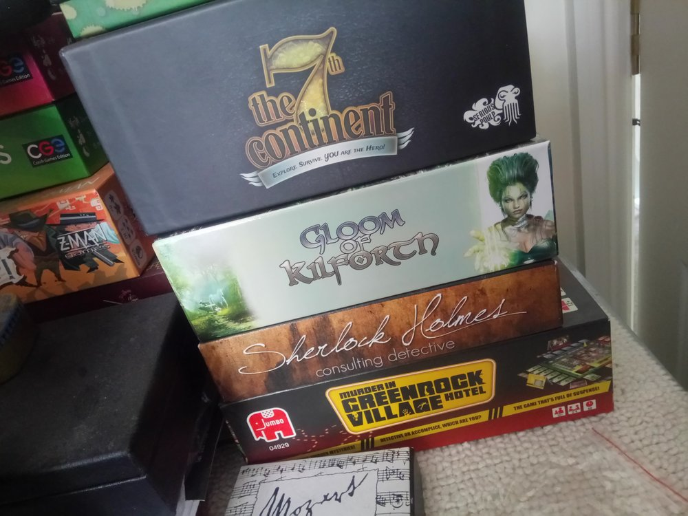 Kilforth and 7th Continent - unplayed.  Sherlock and Greenrock, one play each...