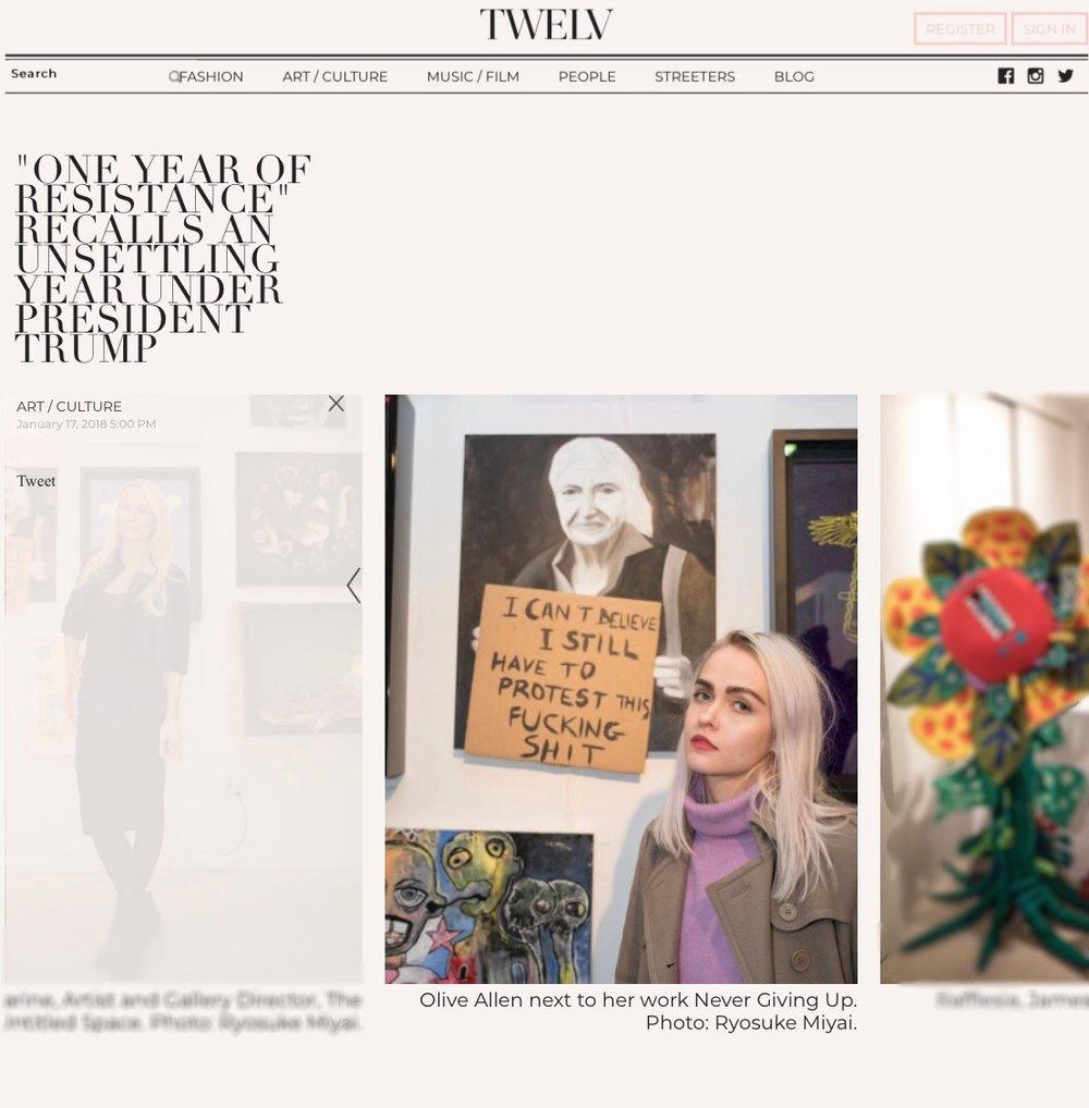 Olive Allen with her art in Twelve Magazine Article