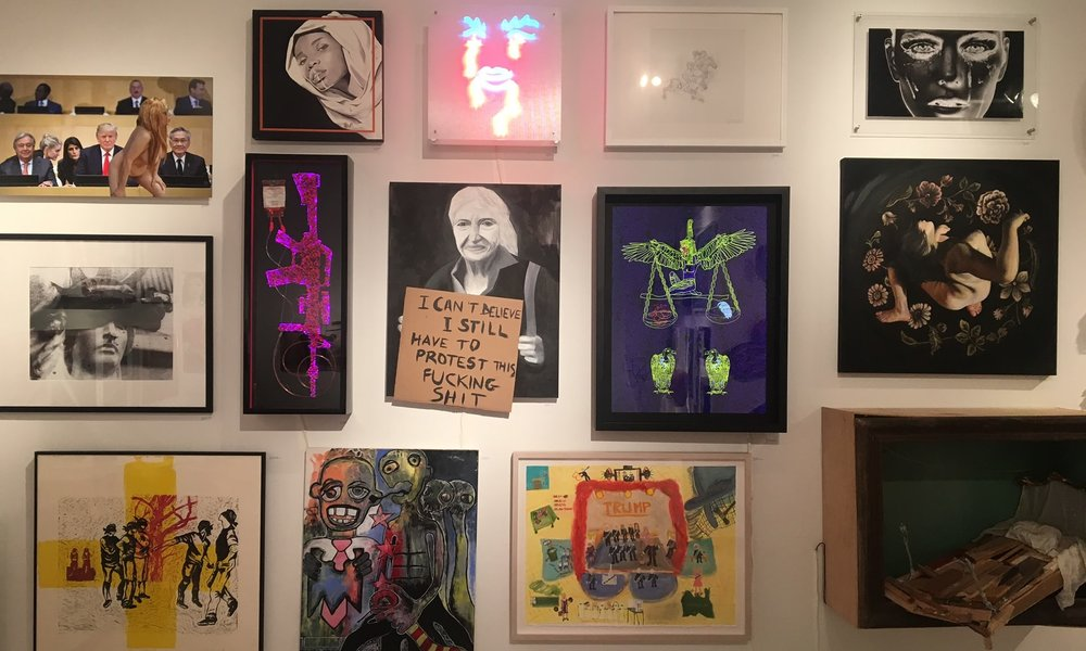Olive Allen art on the wall of the Untitled Space. Photo by the Guardian