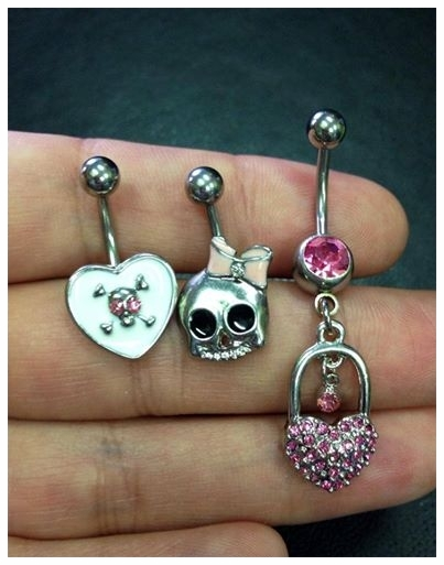 Assorted belly button jewelry
