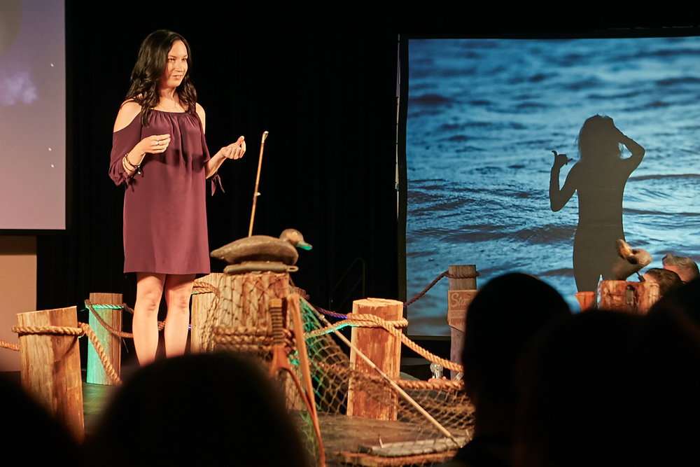 Columbus leader and entrepreneur, Heather Whaling of Geben Communication, wields vulnerability in the telling of her journey to entrepreneurship at Startup Storytellers No. 5: The Leap.  Photo by Matt Reese of  Commons Studio