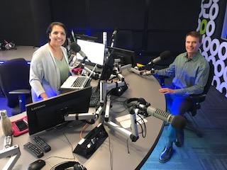 Simi Sara with David in the radio studio in Vancouver