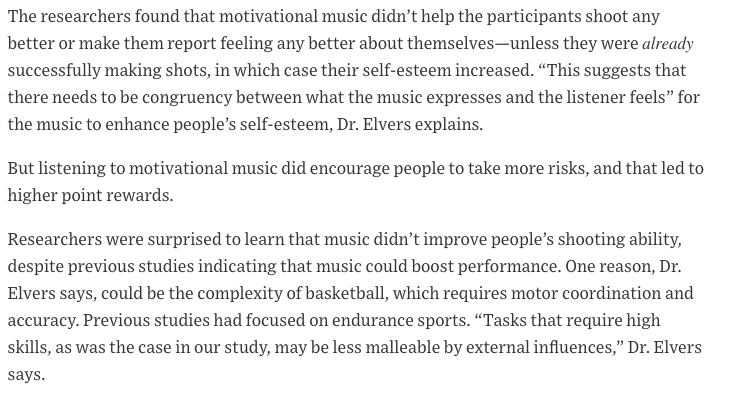 """"""" How Music Affects Athletic Performance"""" Wall St Journal"""