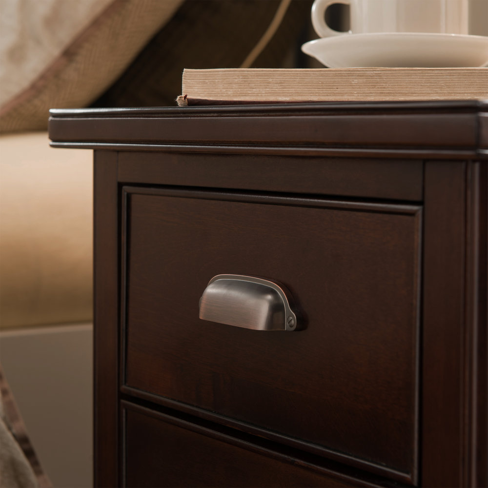 Cabinet End Table With Top Drawer, Door And 2 Plug Electrical Outlet/USB Charging  Station   Laurent Collection #10508
