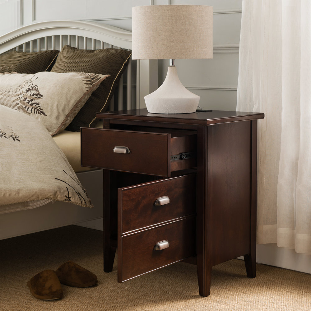 Night Stand With Top Drawer, Door And 2 Plug Electrical Outlet, USB Charging  Station/Dock   Laurent Collection #10522