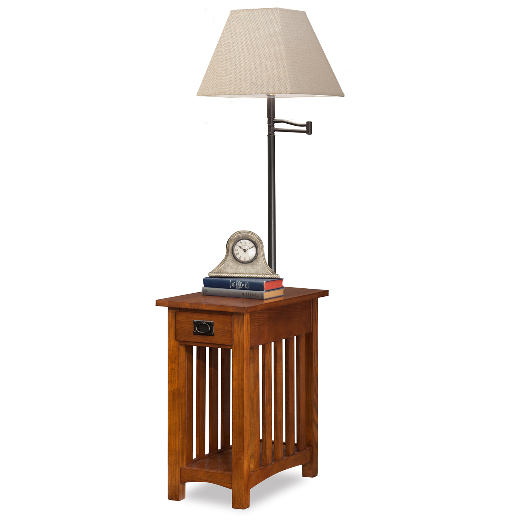 Mission Chairside Swing Arm Lamp Table With Burlap Shade #10028 ...