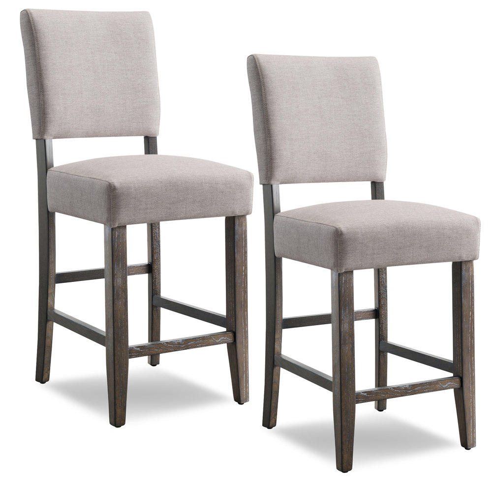 Wood Upholstered Back Counter Height Stool With Heather Gray Seat  #10086BB/HG   Set Of 2