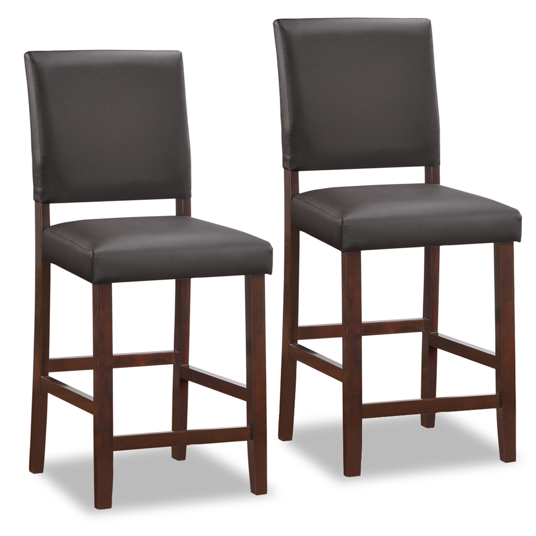 Wood Upholstered Back Counter Height Stool W/Ebony Faux Leather Seat  #10086CP/EB ...
