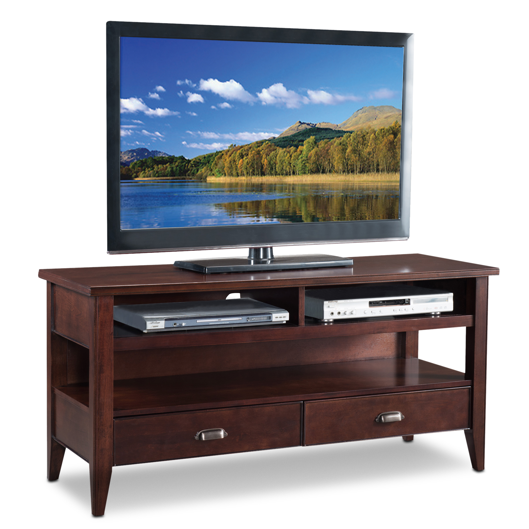 Leick 81560 Bella Maison 60-Inch TV Stand with Lever Handles Chocolate Cherry