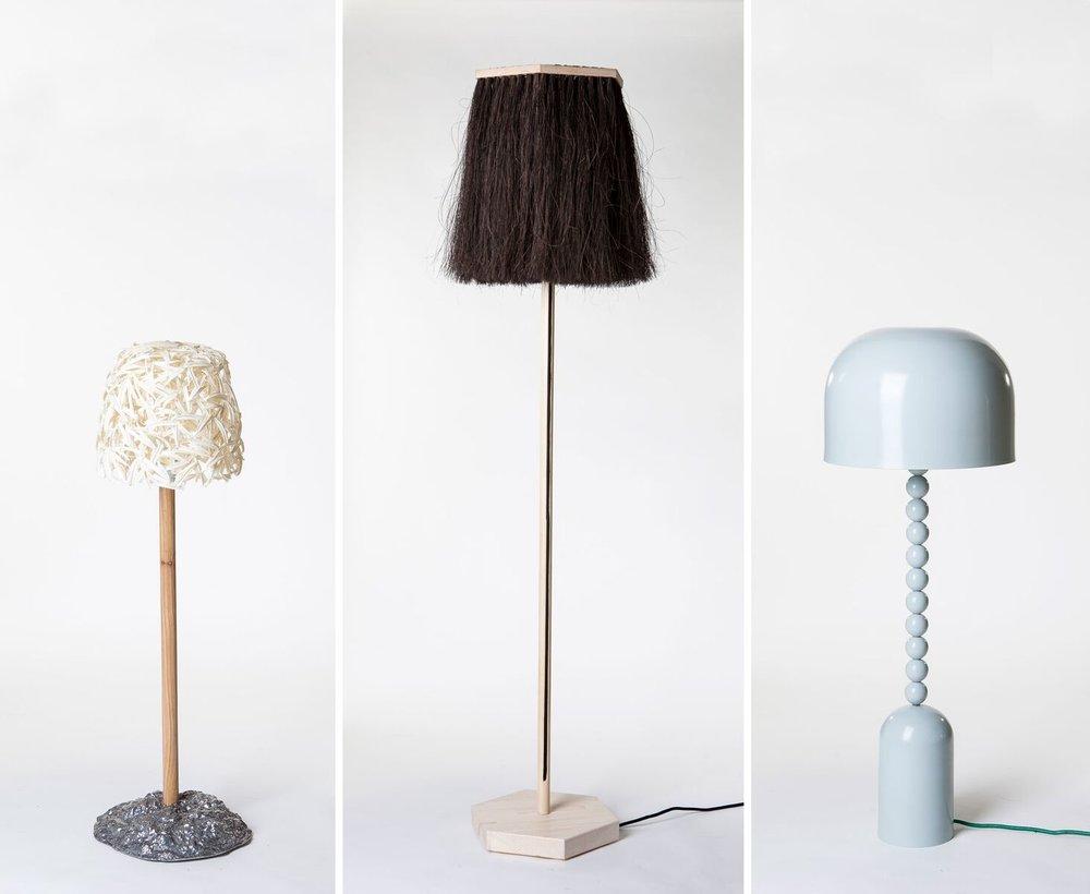 The three original lamps. From the left: Hugdetta, Iceland, Petra Lilja, Sweden and Alto+Alto, Finland.