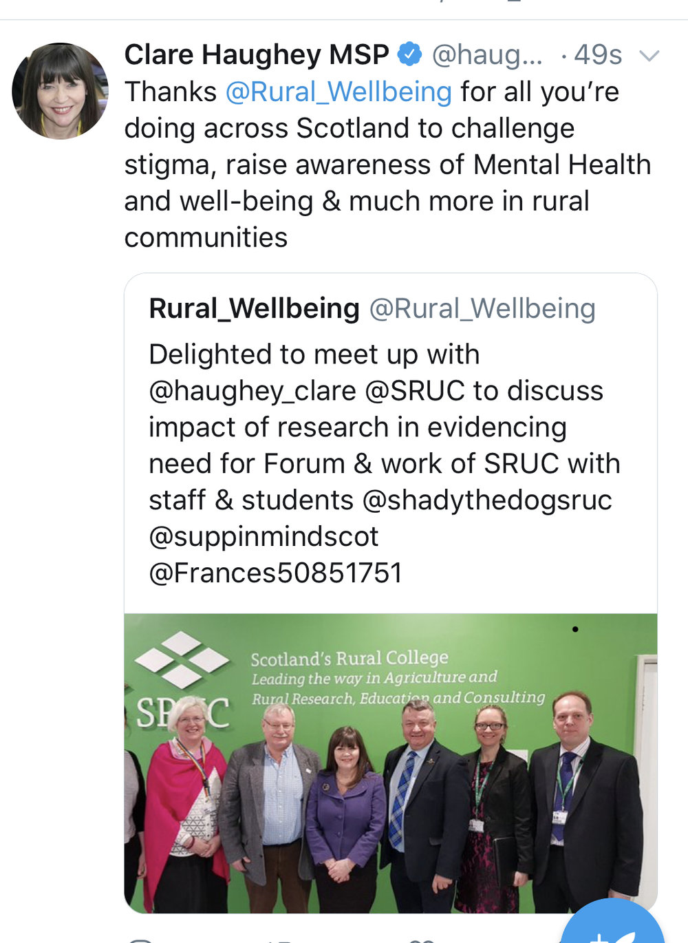 Minister for Mental Health Clare Haughey MSP thanks National Rural Mental Health Forum for its work
