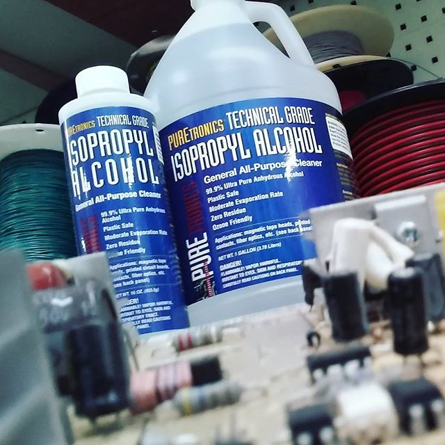 Puretronics Technical Grade Isopropyl Alcohol is 99.9% pure and perfect for cleaning circuit boards, connectors, relays, semiconductors, etc. Recommended for removing flux residue, light oils, polar soils, oxide particles and other contaminants where optimum surface cleanliness is desired. Available in 16 OZ or 1 Gallon. #isopropylalcohol #circuitboard #soldering #NTE #nte #nteelectronics #arduino #capacitors #resistors #relays #wire #batteries #ledstriplight #ledlights #led #fuses #transformers #transistors #electronicswarehouse #electricaltape #hdmicables #ethernetcable #CAT6 #CAT5 #riverside #corona #redlands #Sanbernardino #downtownriversideca #downtownriverside