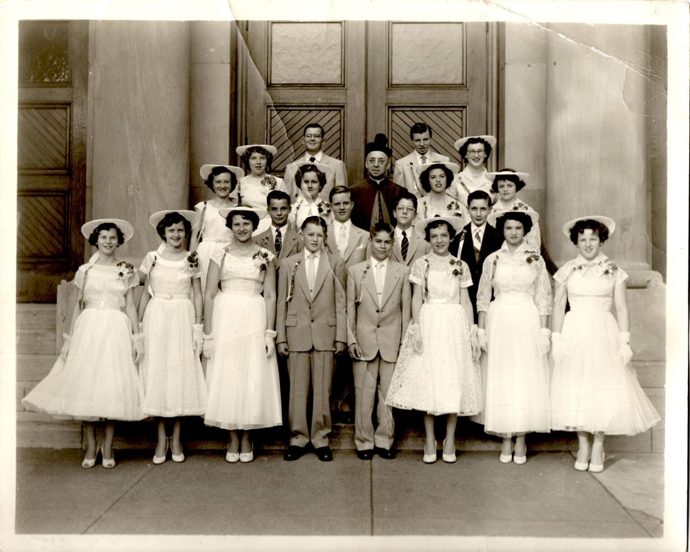 St. Francis Xavier which is now the Buffalo Religious Arts Center graduating Class 1954 with Father Hoffmeyer.jpg