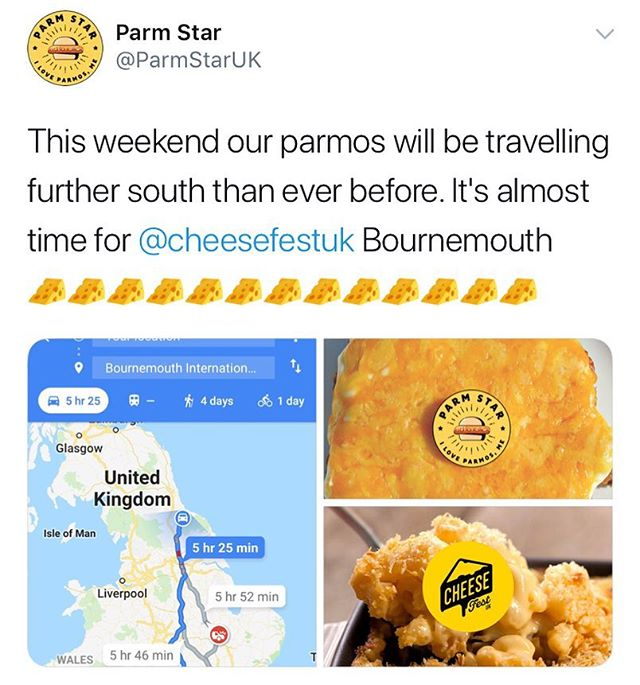 Our amazing friends at @ParmStaruk are heading down all the way from the actual north to #Bournemouth for CheeseFestUk!  Final 500 tickets across all sessions remain for Cheesefest in Bournemouth! Once they are gone they are gone!  Www.cheesefestuk.com/bournemouth