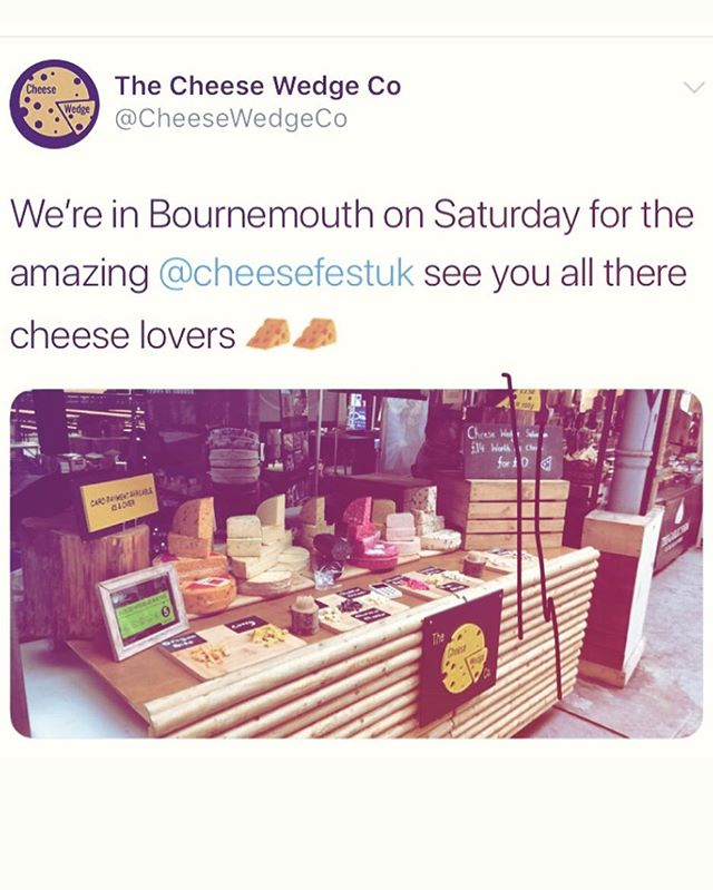 @thecheesewedgecompany coming along to the sunny south coast this weekend! Get final tickets at cheesefestuk.com/bournemouth