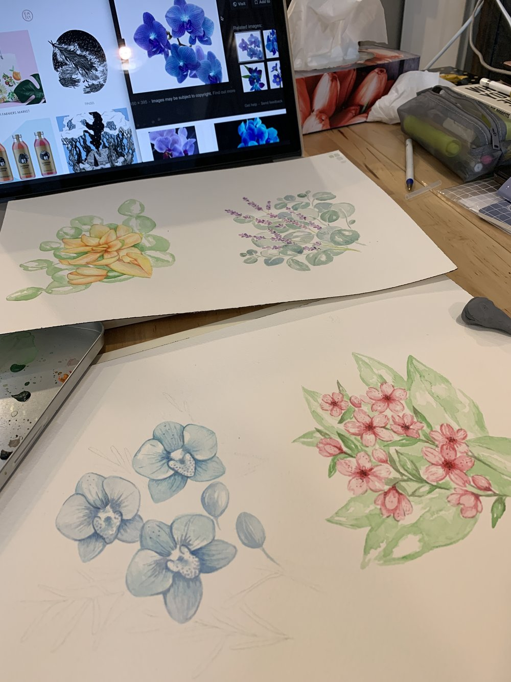 Watercolour illustrations for application on perfume bottles. Everyone was shocked when I whipped out my supplies and finished a whole painting in my lunch break!