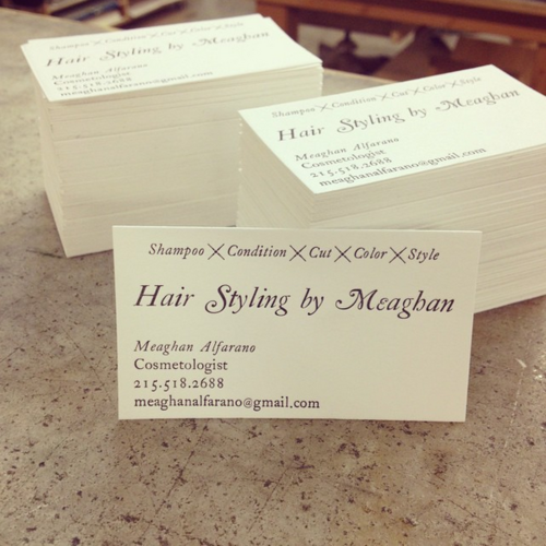 hand set business cards - Letterpress Business Cards