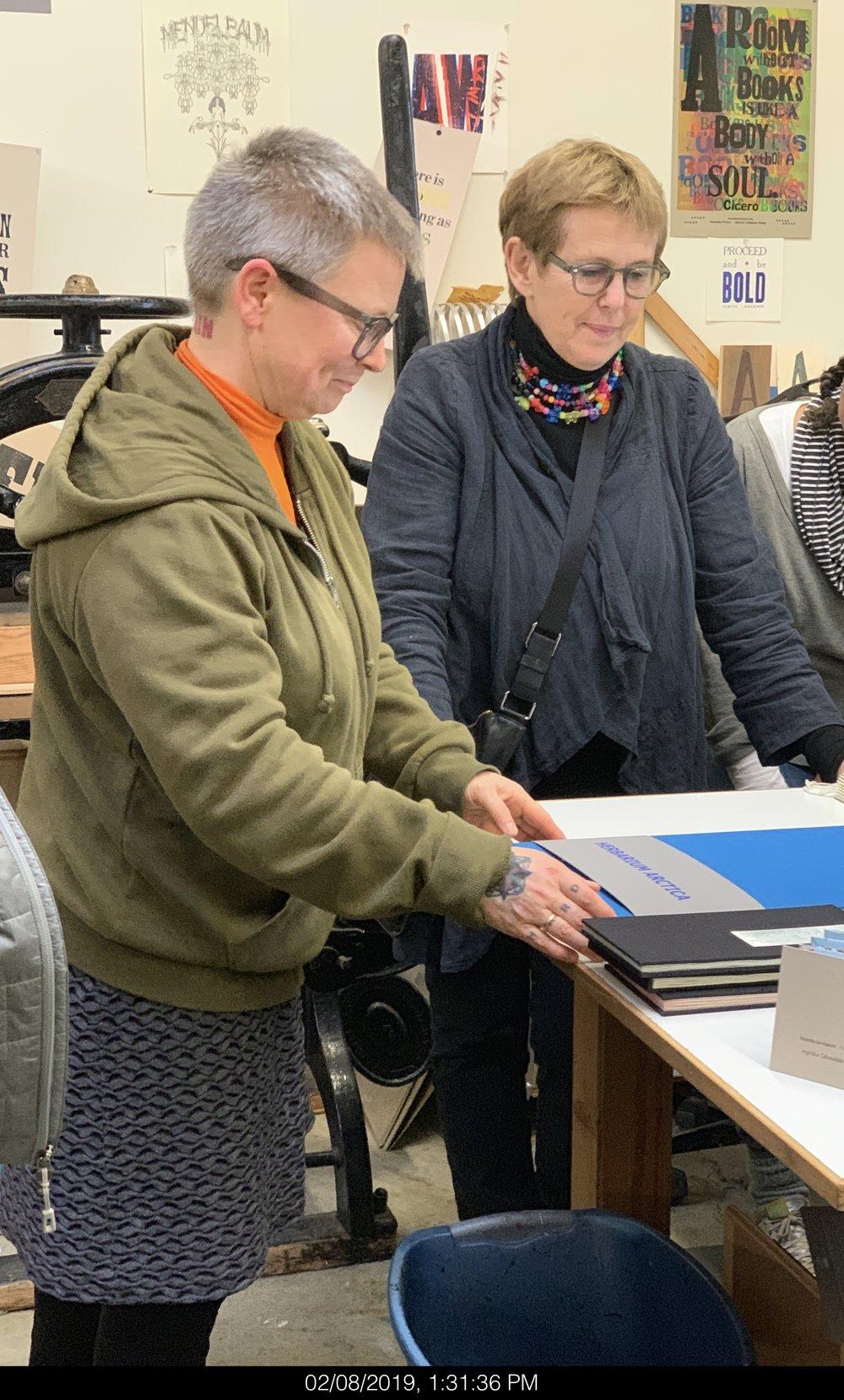 Rita Marhaug (Norway) with Helga Palina Brynjolfsdottir (Iceland) looking on