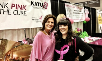 Devon MANAGED coverage and MEDIA sponsorships for the Portland Race for the Cure.. pictured Here with Deb Knapp of Media Partner, KATU.