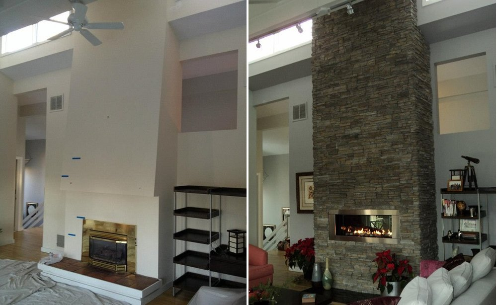 Shaw Remodeling Living Room Renovation Fireplace Before and After
