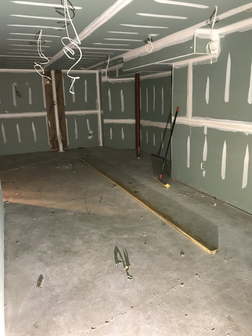 Shaw Remodeling - Progress photo - Drywall and taping in basement finish (1).JPG