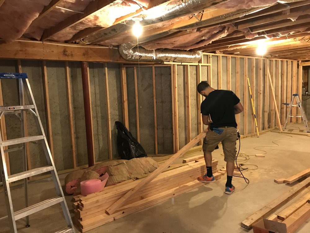 Shaw Remodeling - Progress - Framing new exercise space in basement - CT (2).JPG