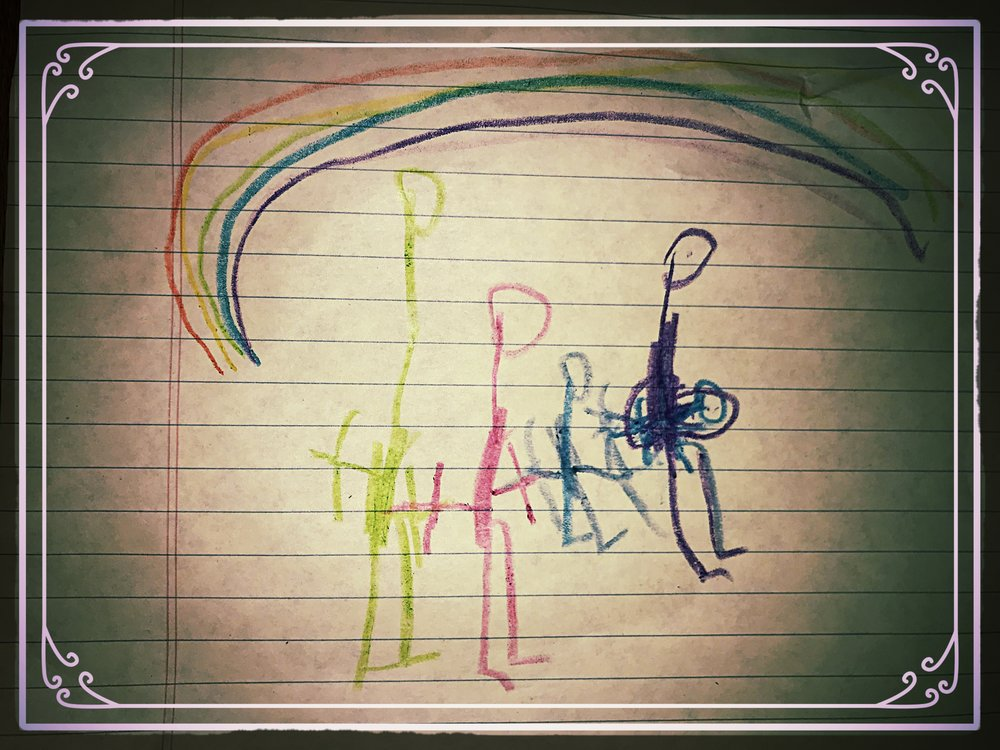 """Family drawing courtesy of Amber's 4 year old. Pictured are """"Daddy, Me, Brother, and Mommy holding Baby Brother."""""""