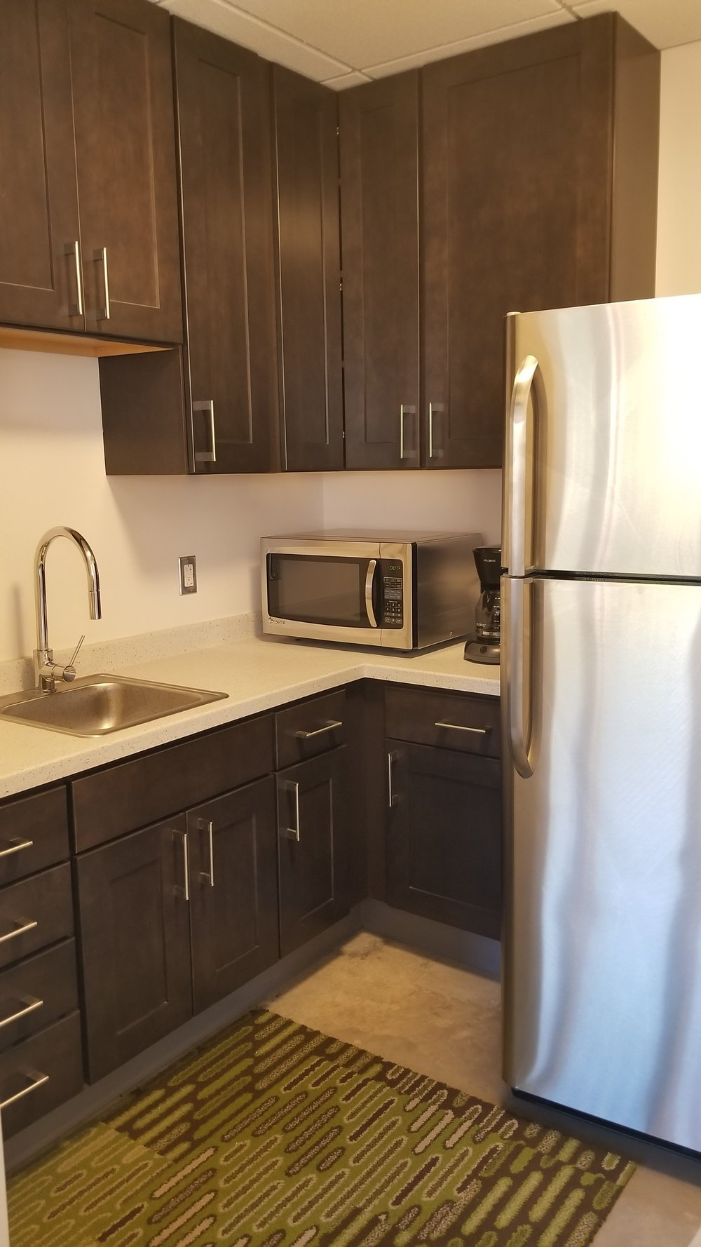 Members can use the kitchenette while working at SpringBoard.