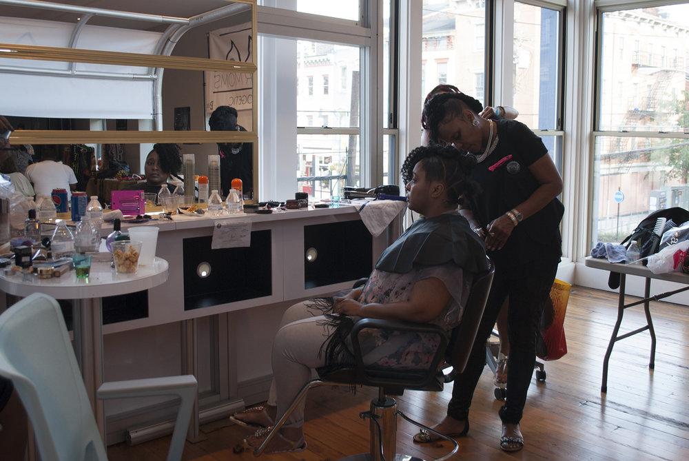 Warrior Mom Julia and makeover stylist Cassie Jamison.