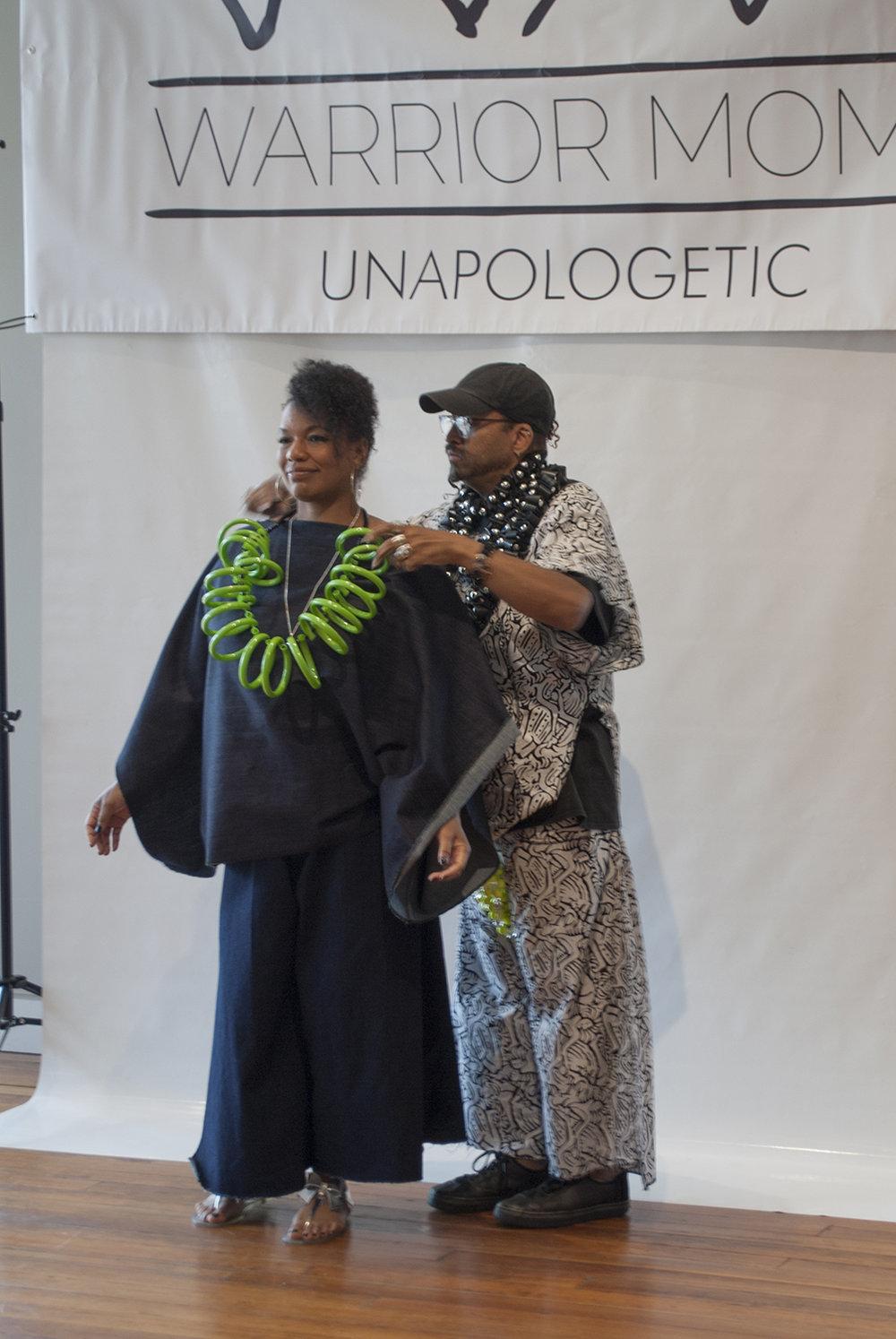Warrior Mom Carla with designer Da'Mon Butler.
