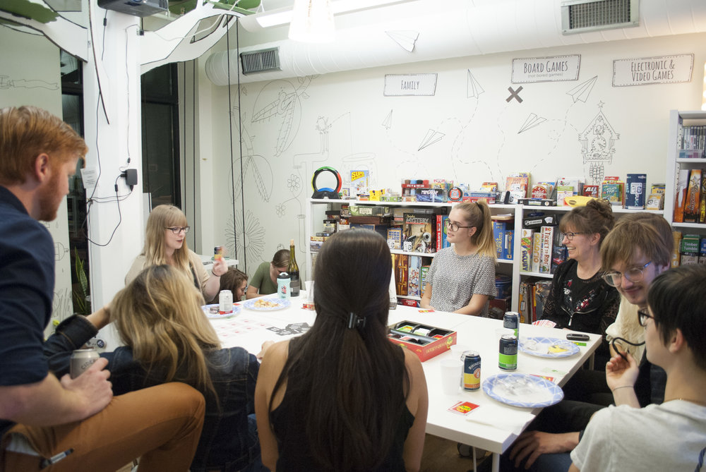 Women of Cincy's Game Night with the Play Library in Over-the-Rhine supporting a past woman of Cincy, Julia Fischer, founder of the Play Library.  October 2017 .