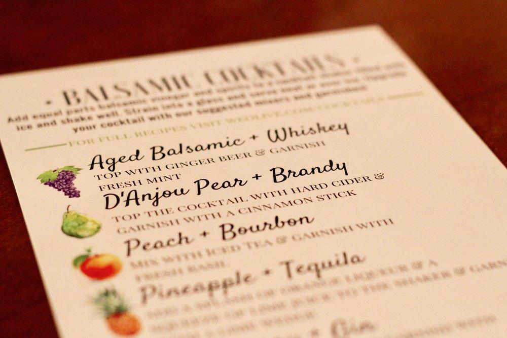 We Olive's cocktail menu