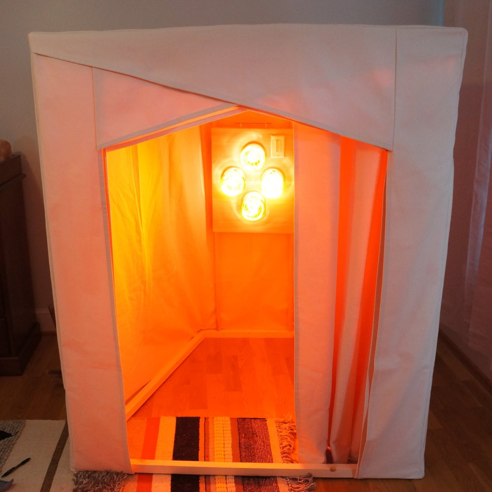 We have improved the aesthetic of the light panel since building this first sauna and slightly changed the exterior look. Please visit www.healinghutsaunas.com for the most up to date pictures and pricing.