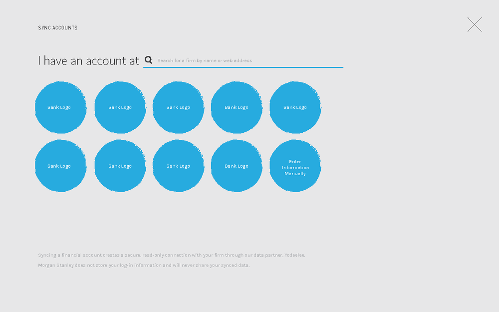 The user goes through a flow where they can link external accounts to their investment goal.