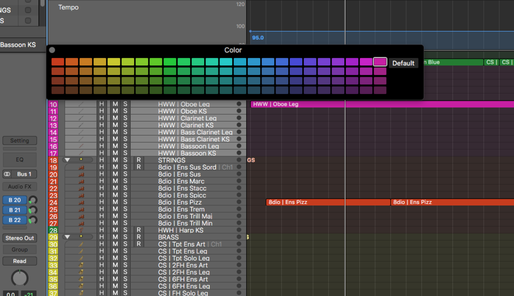 And choose your favorite colors for your selected tracks