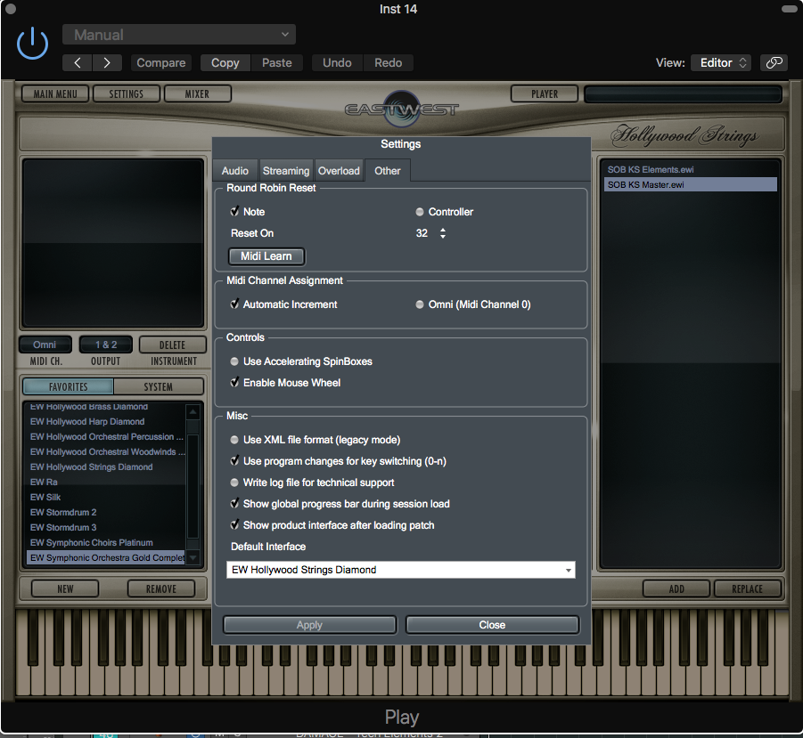 Under the 'SETTINGS' tab you'll be presented with this window. Go under the 'Other' tab to change the MIDI channel assignment to 'Automatic Increment'.