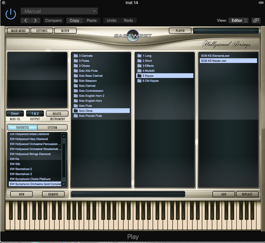 Search for your instruments either in your hard drive or favorites and start loading them up.