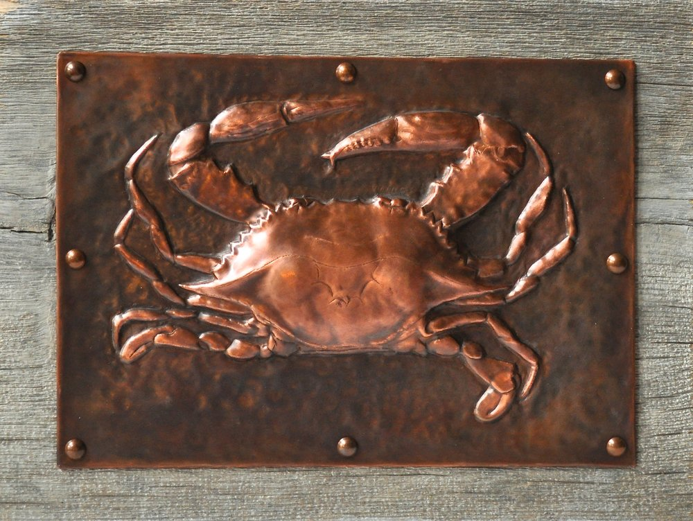 "Blue Crab on Wood 11""14"""