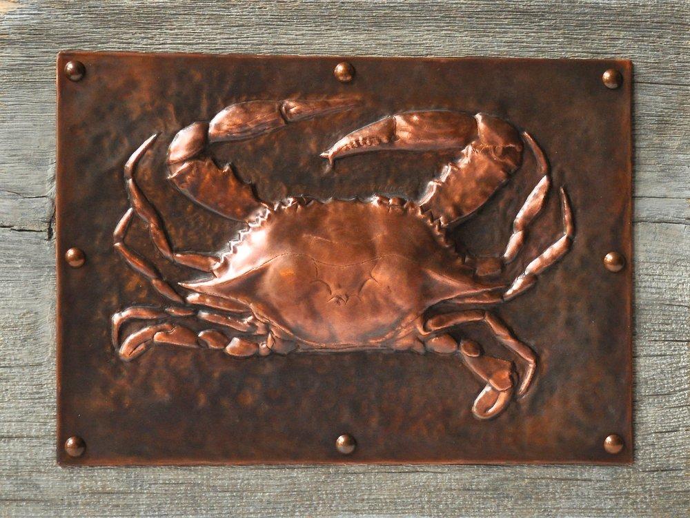"Blue Crab on Wood 11""14"""