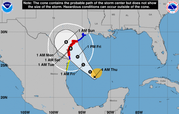 Pictured: Storm track for Hurricane Harvey