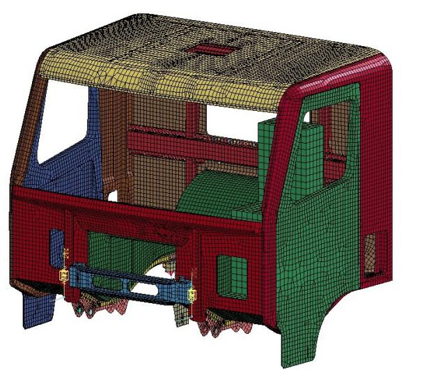 Modelo em elementos finitos da cabine do caminhão LS-DYNA