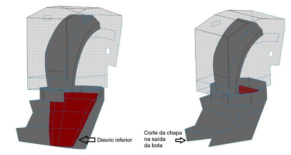 Amostra de Casos  34: Modificações propostas, vista isométrica do chute e corte na saída da bota