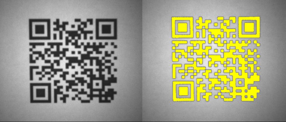 Detecção do código QR na embalagem.