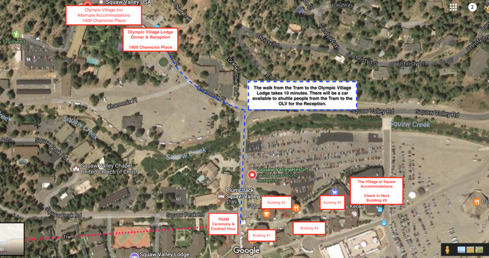 Above is a layout of the venue and where the Ceremony, Cocktail Hour, Dinner & Reception will be held. This Map also notes the accommodations on site.