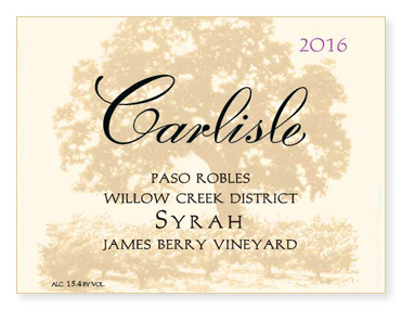 "Paso Robles Willow Creek District ""James Berry Vineyard"" Syrah"