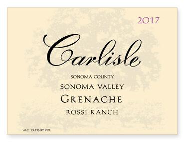 """Sonoma Valley """"Rossi Ranch"""" Grenache"""