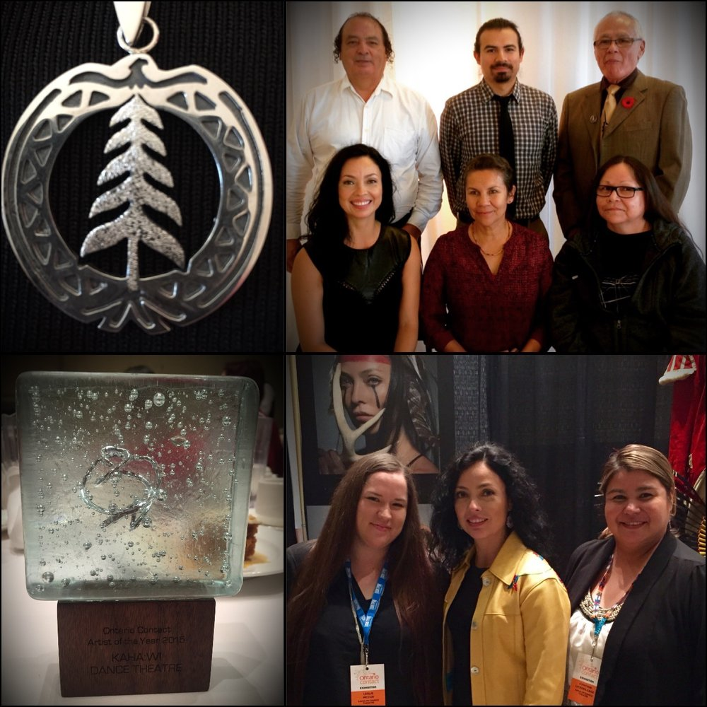 Top: Six Nation Polytechnic Community Scholar Pendant; Six Nations Community Scholars Bottom: Artist of the Year Award, Ontario Contact; KDT Ontario Contact Booth