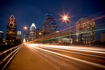Congress Avenue BridgeSkyline at night.jpg